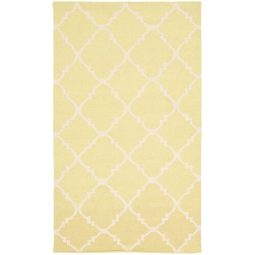 Safavieh Dhurries Light Green/Ivory Checked Rug