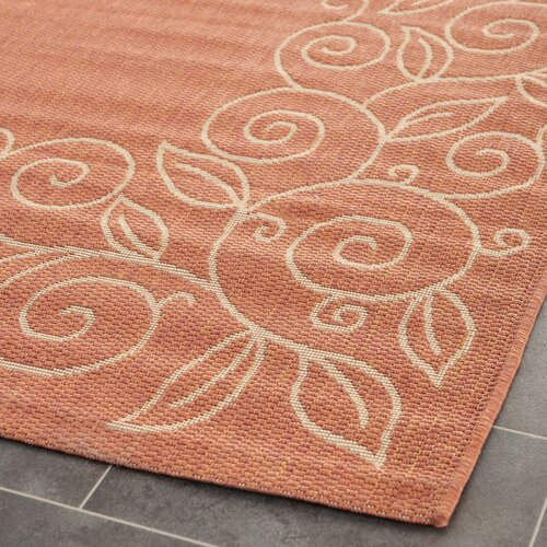 Safavieh Courtyard Rust/Sand Leaves Outdoor Rug