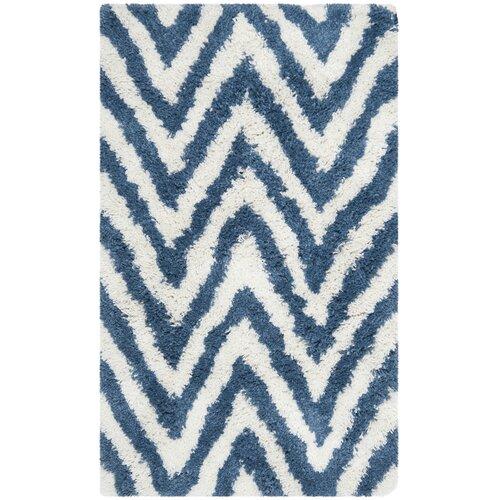 Ivory / Blue Shag Rug