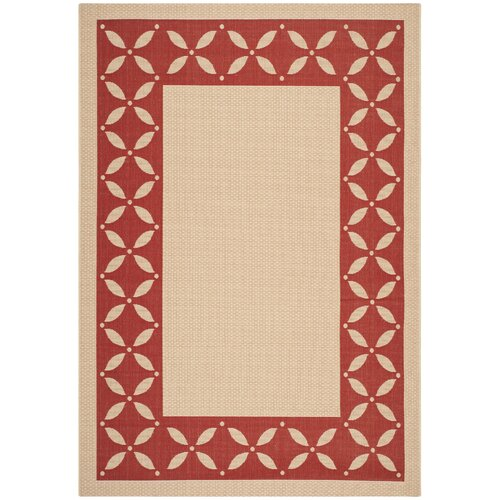 Martha Stewart Mallorca Border Creme / Red Rug