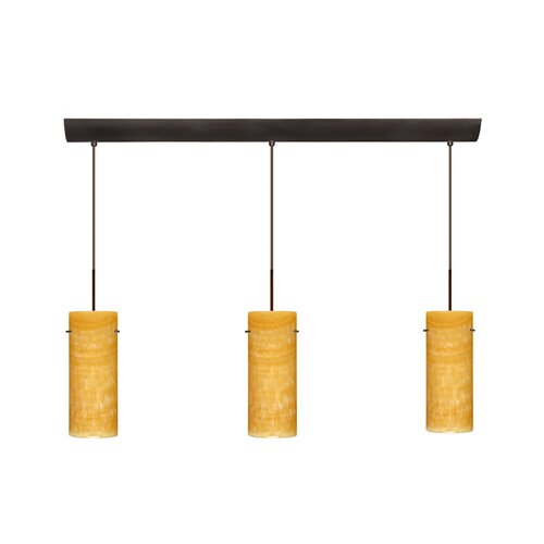 "Besa Lighting Stilo 10"" 3 Light Cord Hung Mini Pendant with Bar Canopy"