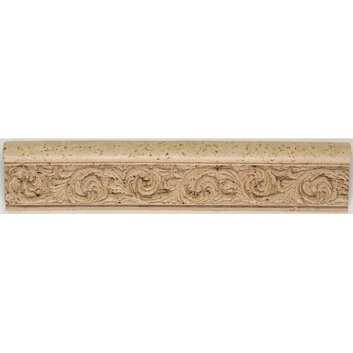 "Mohawk Flooring Accent Statements 12"" x 2.5"" Travertine Leaf Relief Chair Rail Tile Trim"