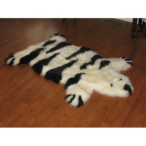 Designer Stripe Bear Black / Ivory Animal Rug