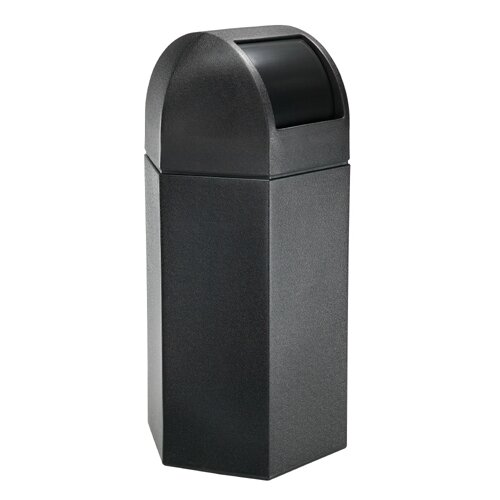 Commercial Zone 50-Gallon Hex Waste Container with Dome Lid in Black