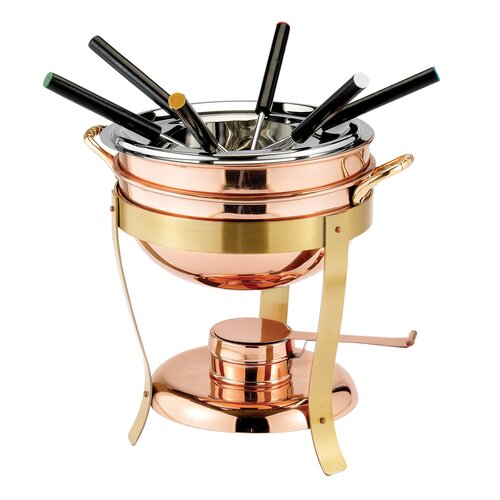 6 Fork Decor and Brass Fondue Set