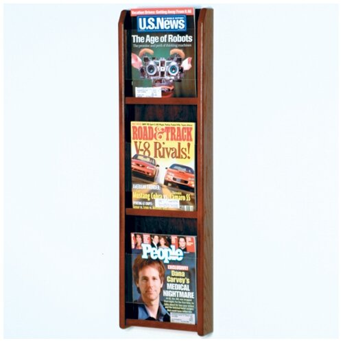 Wooden Mallet 3 Pocket Magazine Wall Display