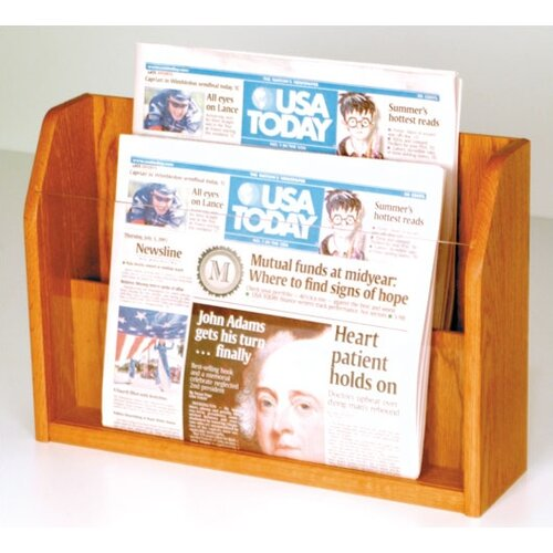 Wooden Mallet Countertop 2 Pocket Newspaper Display