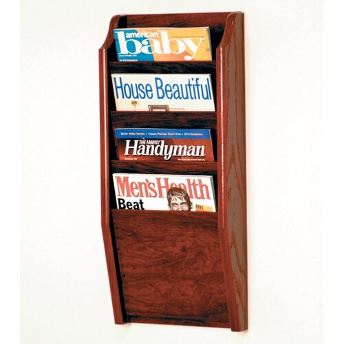 Wooden Mallet 4 Pocket Wall Mount Magazine Rack