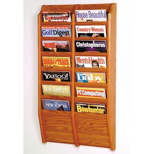 Wooden Mallet 14 Pocket Wall Mount Magazine Rack