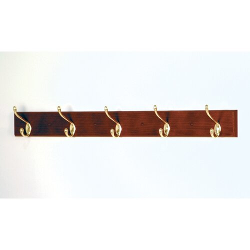 Wooden Mallet Coat Rack with 5 Hooks
