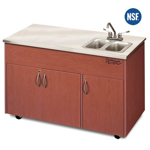 "Ozark River Portable Sinks Silver Advantage 48"" x 24"" Double Bowl Portable Handwash Station with Storage Cabinet"