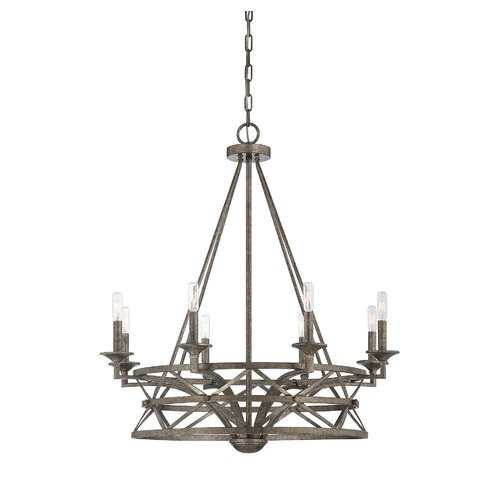Rail 8 Light Candle Chandelier