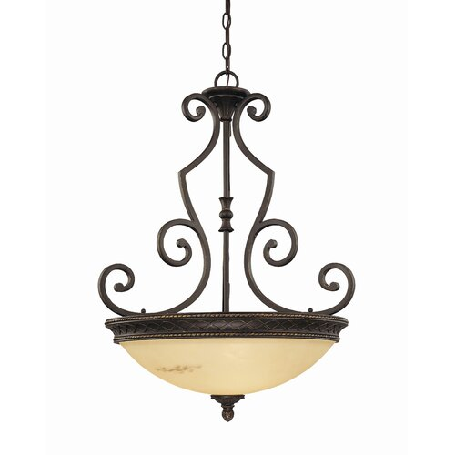 Wildon Home ® Knight 3 Light Large Bowl Inverted Pendant