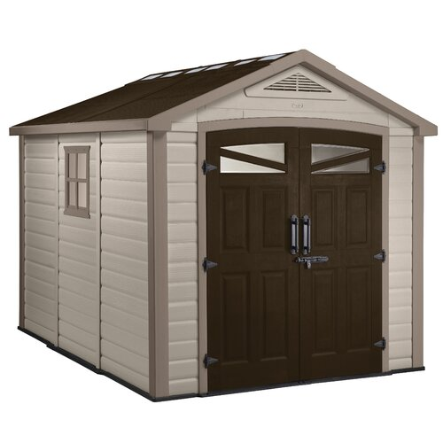 """Keter Orion 8'4.5"""" W x 9'5"""" D Resin Storage Shed"""