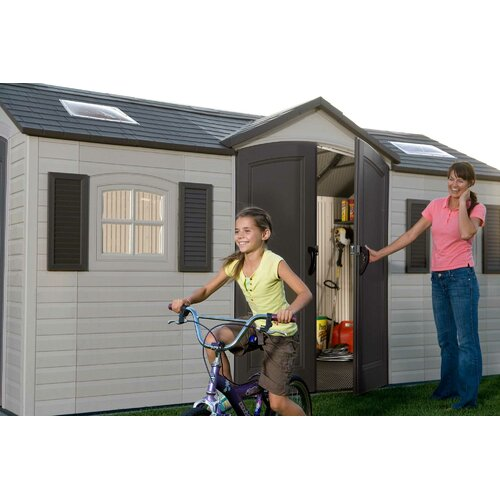 Lifetime Dual Entry 7.5' W x 14.5' D Steel and Plastic Garden Shed