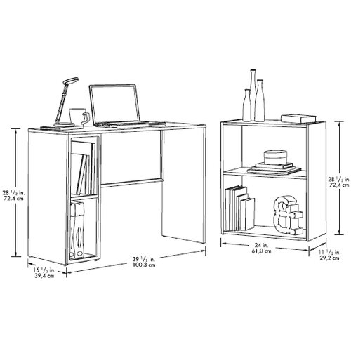 Sauder Treble Studio Edge Writing Desk with Bookcase