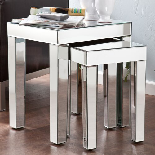 Wildon Home ® Bacall Mirrored Accent 2 Piece Nesting Tables