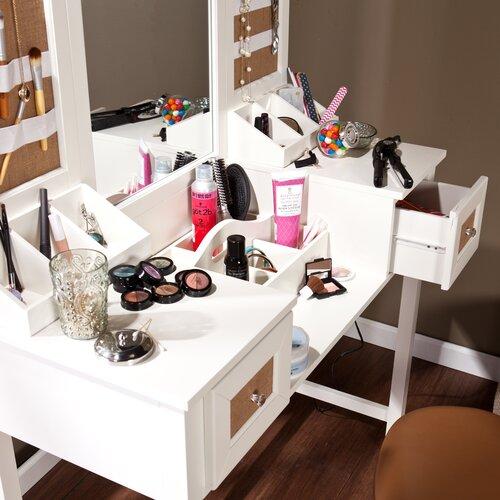 Wildon Home ® Monterey Vanity Desk With Mirror And Jewelry