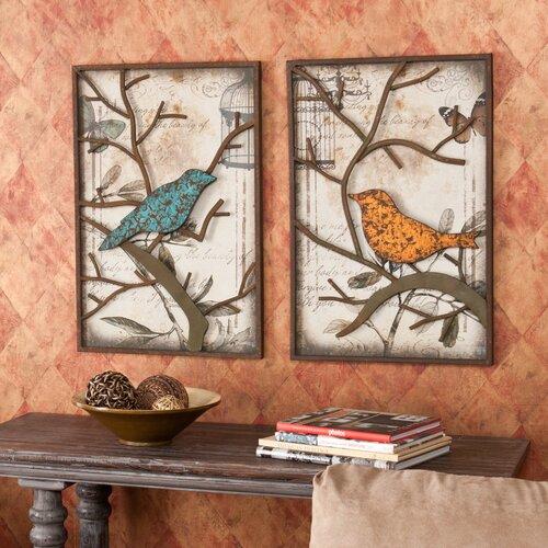 Wildon Home ® 2 Piece Merrick Vintage Bird Wall Décor Set