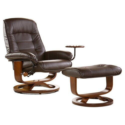 Wildon Home ® Shaw Bonded Leather Ergonomic Recliner and Ottoman