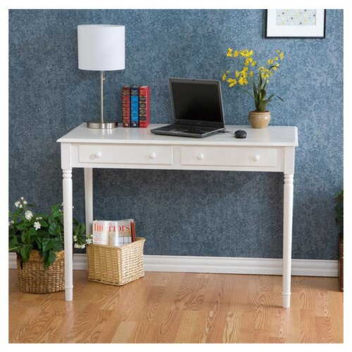 Wildon Home ® Hannelore 2-Drawer Writing Table in Crisp White