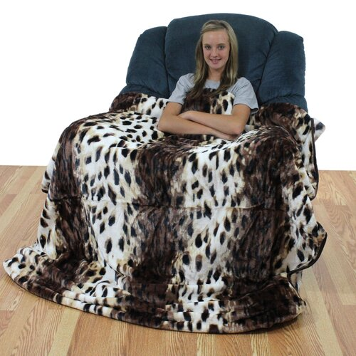 College Covers Leopard Polyester Throw Blanket