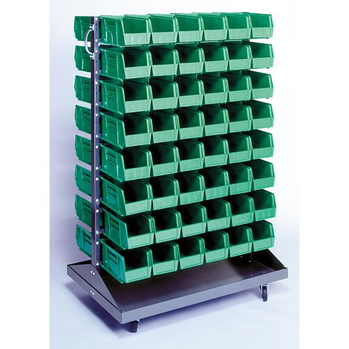 Quantum Storage Mobile Double Sided Louvered Rack with Bins (Complete Package)