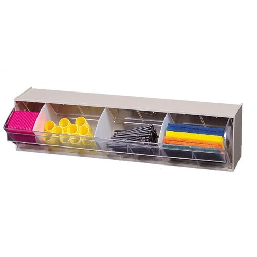"""Quantum Storage 24"""" Dividable Clear Tip Out Bin with 1 Bin Cup"""