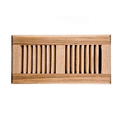 "Image Wood Vents 4"" x 10"" Red Oak Self Rimming Vent Cover with Damper"