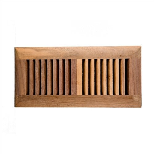 """Image Wood Vents 4"""" x 10"""" American Walnut Self Rimming Wood Vent Cover with Metal Damper"""