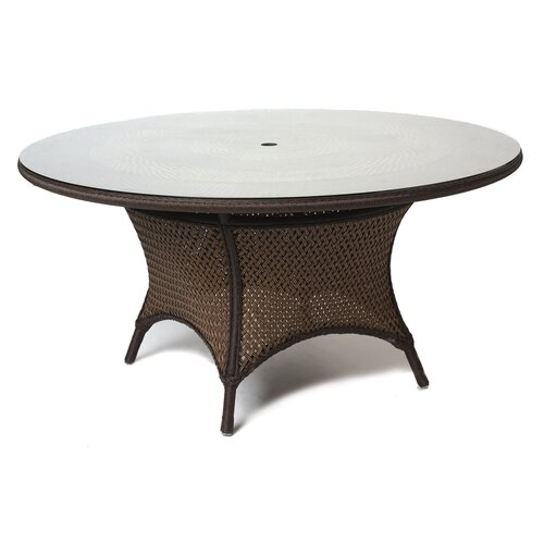 "Lloyd Flanders Grand Traverse 60"" Round Glass Umbrella Coffee Table"