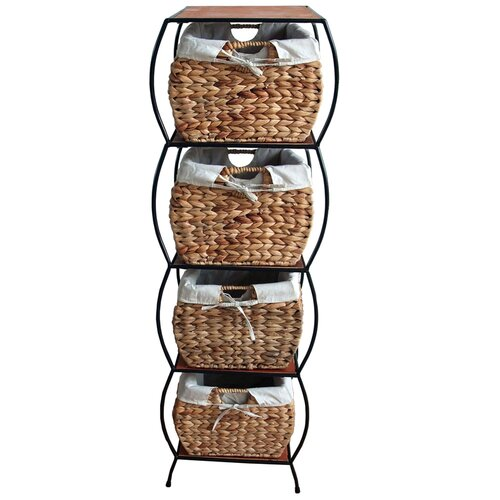 Pangaea Home and Garden Seagrass 4 Drawer Basket Storage Cabinet