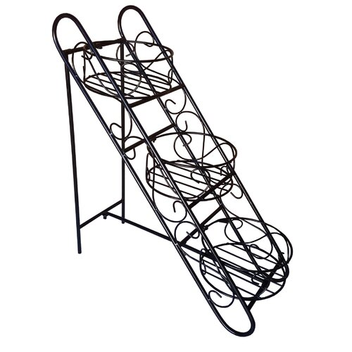Folding Iron Plant Stand with Three Baskets