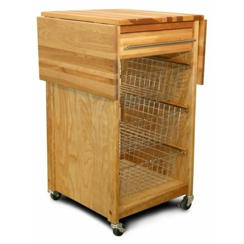 Catskill Craftsmen, Inc. Basket Kitchen Cart with Butcher Block Top
