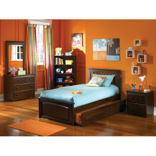 Atlantic Furniture Brooklyn Platform Bed with Raised Panel Footboard and Trundle in Antique Walnut