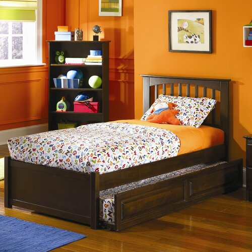 Atlantic Furniture Brooklyn Platform Bed with Flat Panel Footboard and Trundle