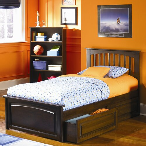 Atlantic Furniture Brooklyn Platform Bed with Raised Panel Drawers in Antique Walnut