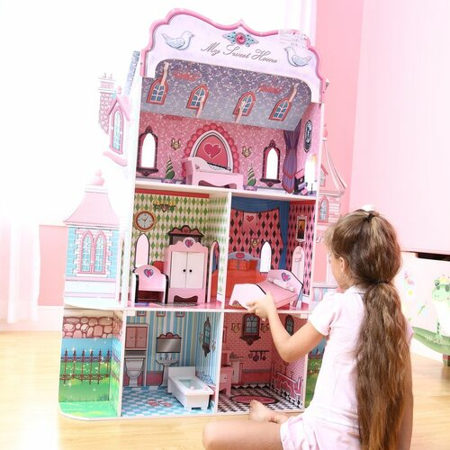 teamson kids my sweet home doll house reviews wayfair. Black Bedroom Furniture Sets. Home Design Ideas