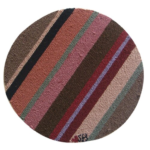 "Susan Branch Home Yipes Stripes Round: 15"" x 15"" - Brown Chair Pad"