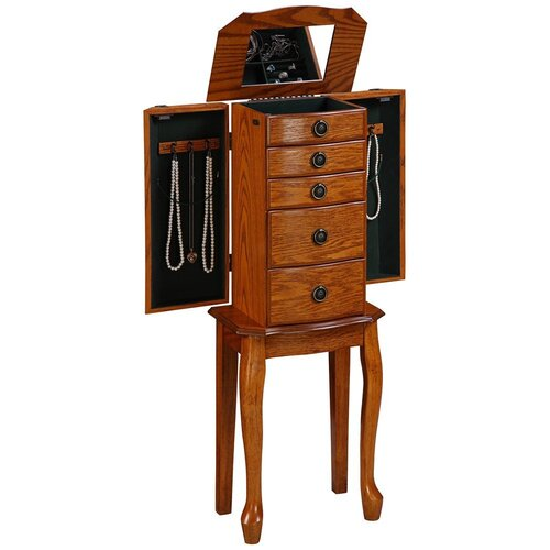 Linon Jewelry Armoire with Mirror