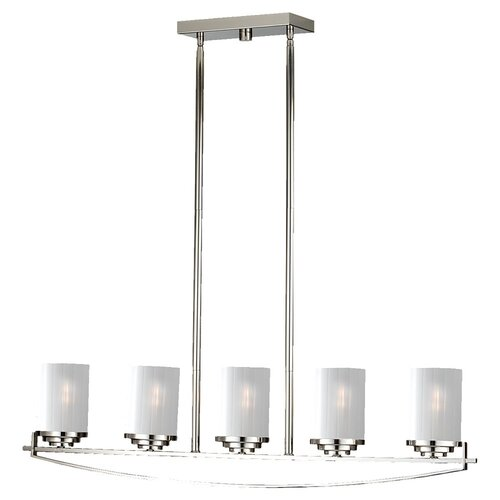 Feiss Finley Five Light Kitchen Island Pendant in Polished Nickel
