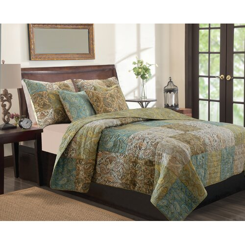 Greenland Home Fashions Vintage Paisley Quilt Set