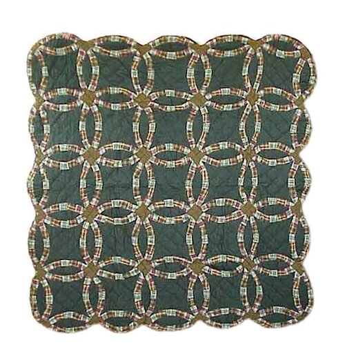 Patch Magic Green Double Wedding Ring Cotton Throw Quilt