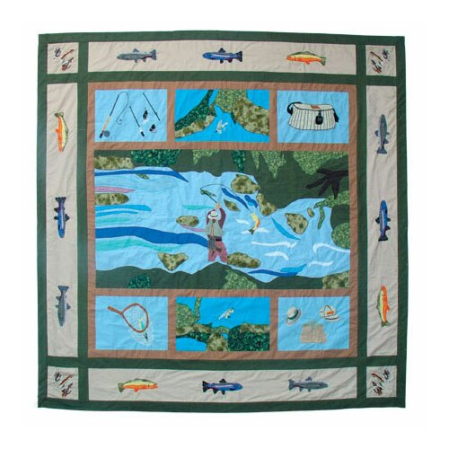 Fly Fishing Cotton Shower Curtain