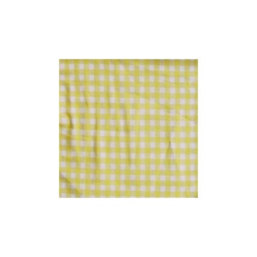 Patch Magic Yellow Pale and White Checks Cotton Bed Curtain Single Panel