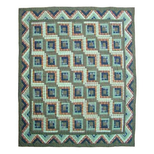 Patch Magic Green Log Cabin Duvet Cover