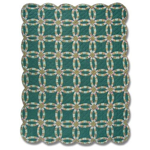 Green Double Wedding Ring Quilt