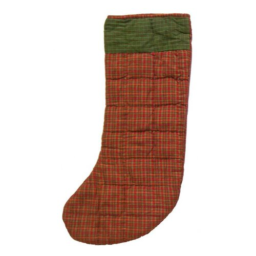 Patch Magic Red Plaid and Green Black Lines Stocking