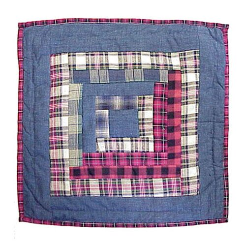 Patch Magic Red Log Cabin Cotton Toss Pillow