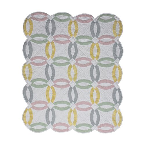 Pastel Double Wedding Ring Cotton Throw